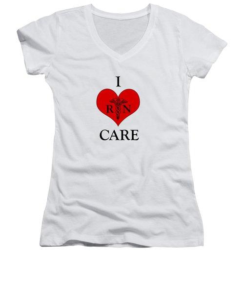 Nursing I Care -  Red Women's V-Neck (Athletic Fit)