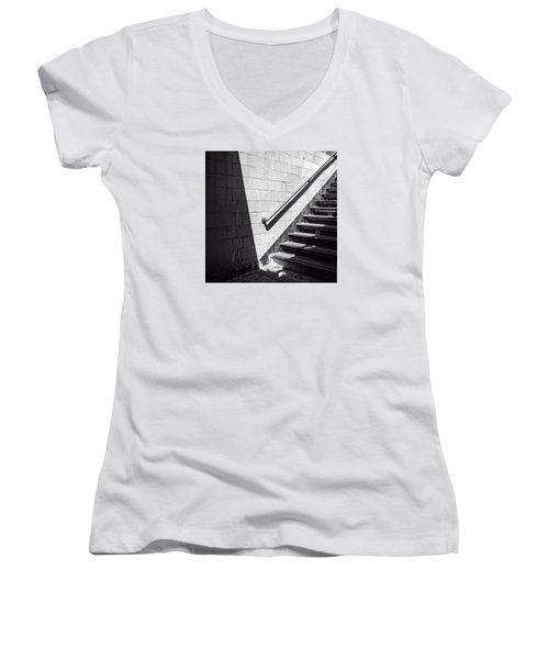 Ny Subway Stairs Women's V-Neck (Athletic Fit)