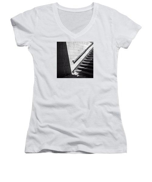 Ny Subway Stairs Women's V-Neck T-Shirt