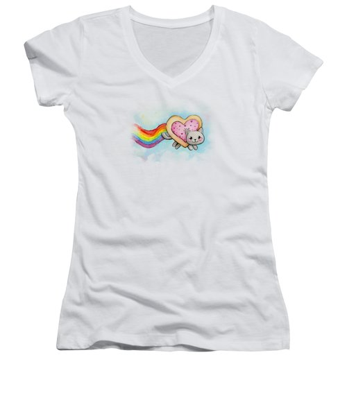Nyan Cat Valentine Heart Women's V-Neck (Athletic Fit)