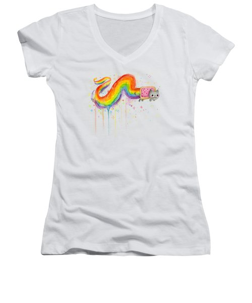 Nyan Cat Watercolor Women's V-Neck (Athletic Fit)