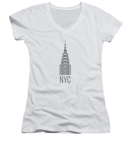 Women's V-Neck T-Shirt (Junior Cut) featuring the drawing Nyc New York City Graphic by Edward Fielding