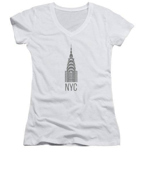 Nyc New York City Graphic Women's V-Neck T-Shirt (Junior Cut)