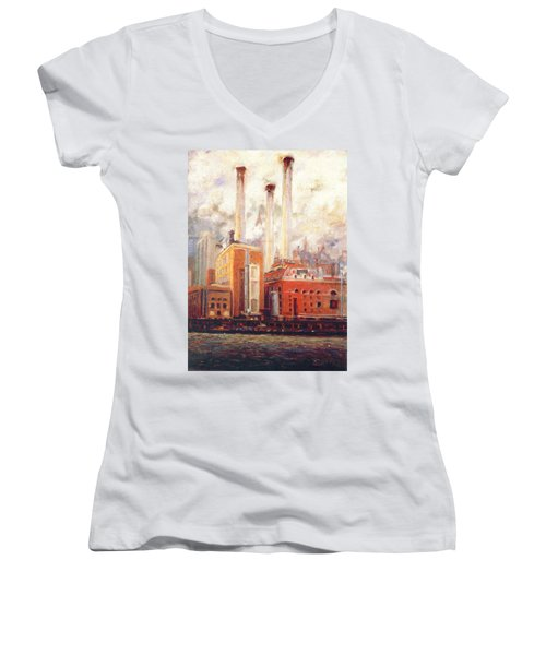 Women's V-Neck T-Shirt (Junior Cut) featuring the painting Nyc- View From East River  by Walter Casaravilla