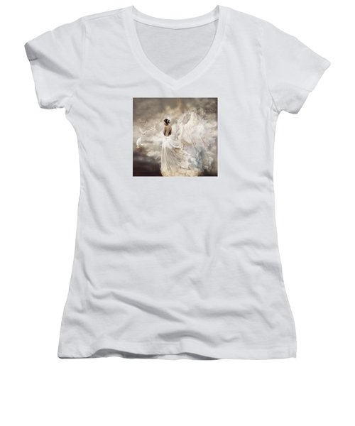 Nymph Of The Sky Women's V-Neck T-Shirt (Junior Cut) by Lilia D
