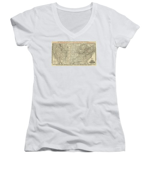 O And M Map Women's V-Neck (Athletic Fit)