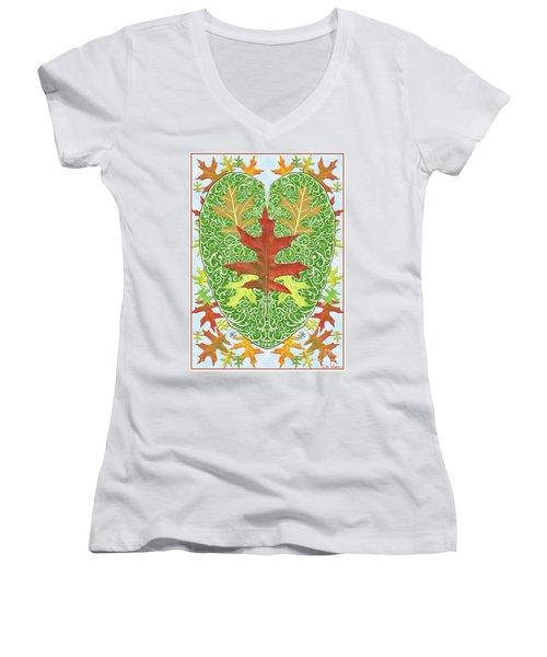 Women's V-Neck T-Shirt (Junior Cut) featuring the digital art Oak Leaf In A Heart by Lise Winne