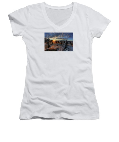 Oc Bay Sunset Women's V-Neck T-Shirt (Junior Cut) by John Loreaux