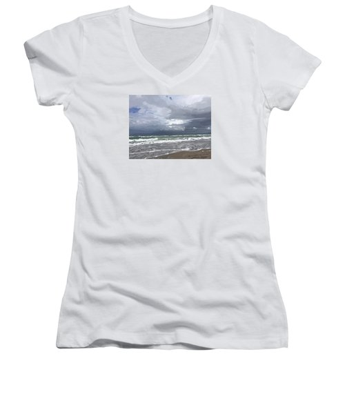 Ocean And Clouds Over Beach At Hobe Sound Women's V-Neck T-Shirt