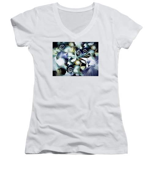 Women's V-Neck featuring the mixed media Ocean Gems 21 by Lynda Lehmann