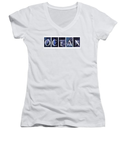 Women's V-Neck T-Shirt (Junior Cut) featuring the photograph Ocean by Robin-Lee Vieira