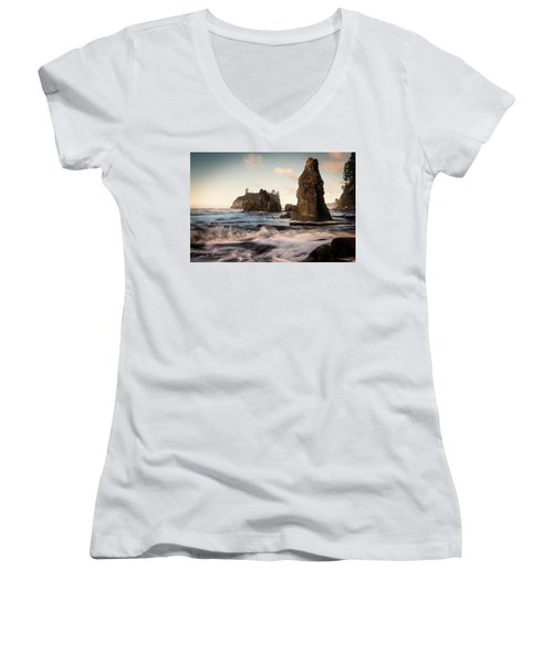 Ocean Spire Signature Series Women's V-Neck T-Shirt (Junior Cut) by Chris McKenna