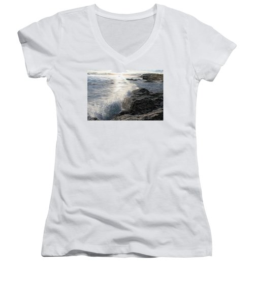 Ocean Splash Women's V-Neck T-Shirt (Junior Cut)