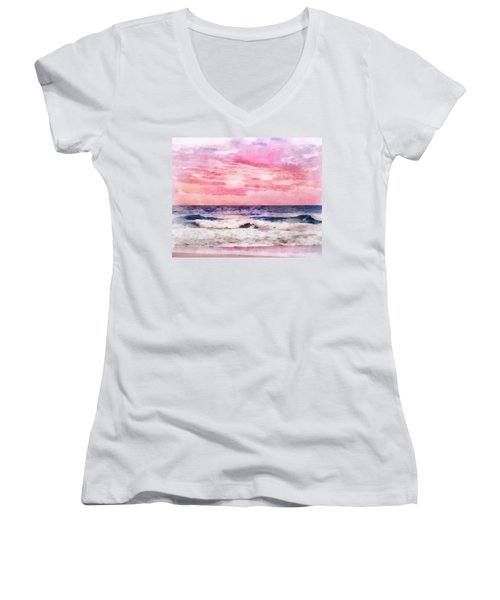 Women's V-Neck T-Shirt (Junior Cut) featuring the digital art Ocean Sunrise by Francesa Miller