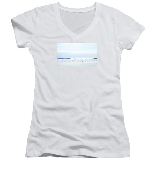 Women's V-Neck T-Shirt (Junior Cut) featuring the photograph Ocean View With Seagulls by Theresa Tahara