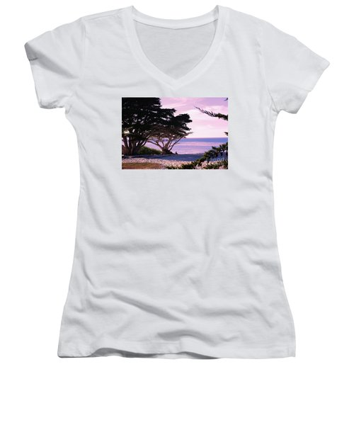 Ocean Views From Carmel Beach  Women's V-Neck