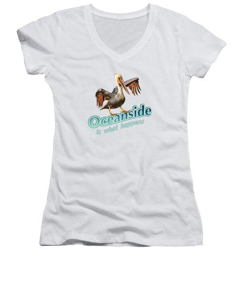Oceanside Is What Happens Women's V-Neck T-Shirt