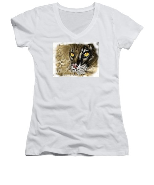 Women's V-Neck T-Shirt featuring the digital art Ocelot by Darren Cannell