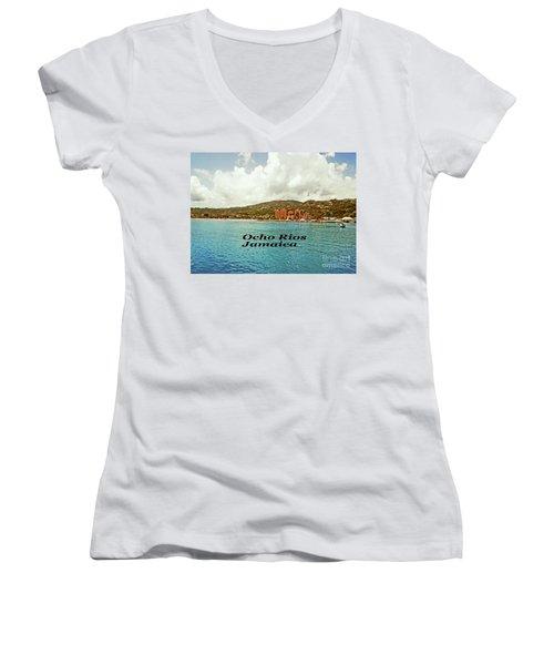Ocho Rios Jamaica Women's V-Neck T-Shirt (Junior Cut) by Gary Wonning