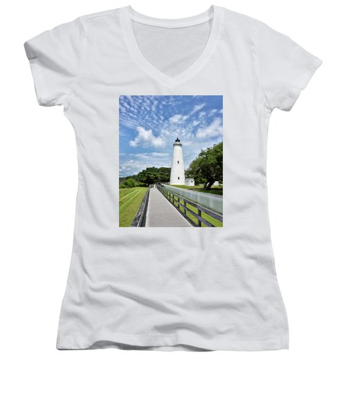 Ocracoke Lighthouse - Outer Banks Women's V-Neck (Athletic Fit)