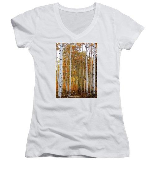 October Aspen Grove  Women's V-Neck T-Shirt