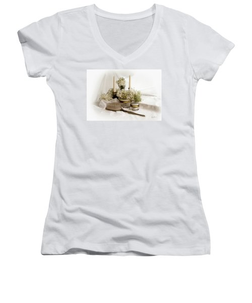 Women's V-Neck T-Shirt (Junior Cut) featuring the photograph Of Days Past by Ann Lauwers