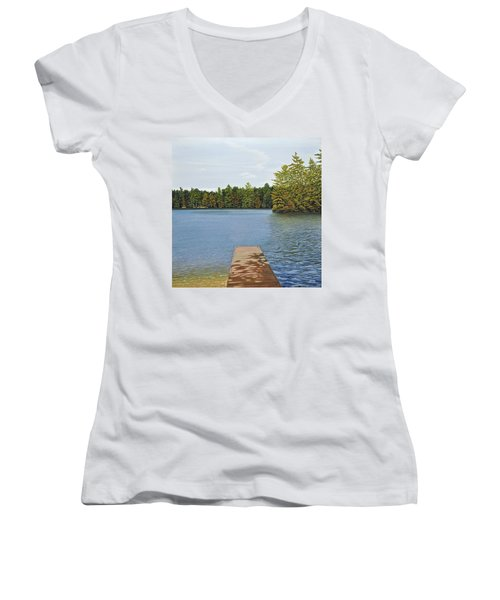 Off The Dock Women's V-Neck T-Shirt (Junior Cut) by Kenneth M  Kirsch