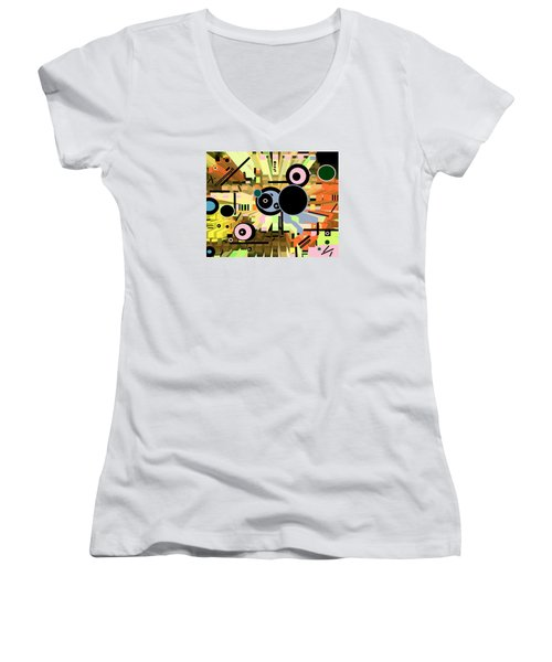 Women's V-Neck featuring the digital art Off The Grid 66 by Lynda Lehmann