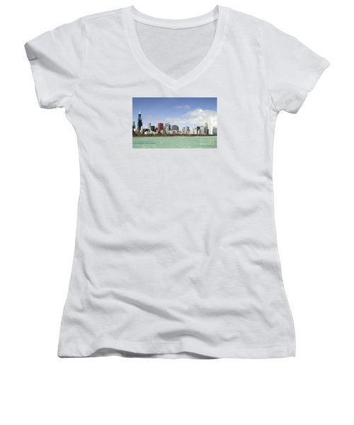 Off The Shore Of Chicago Women's V-Neck T-Shirt (Junior Cut) by Ricky L Jones