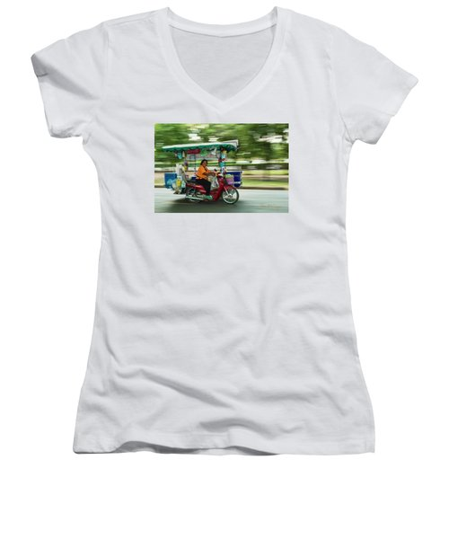 Women's V-Neck (Athletic Fit) featuring the photograph Off To Work by Dan McGeorge