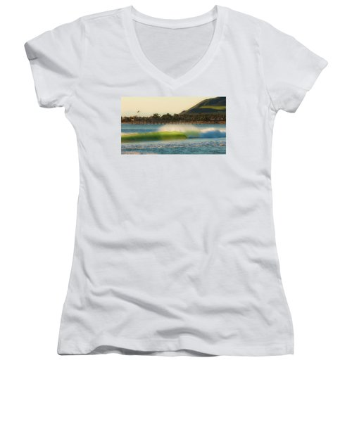 Women's V-Neck T-Shirt (Junior Cut) featuring the photograph Offshore Wind Wave And Ventura, Ca Pier by John A Rodriguez
