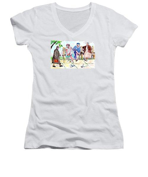 Oh My Aching Feet Women's V-Neck T-Shirt (Junior Cut)