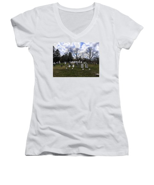 Old Town Cemetery Sandwich, Massachusetts Women's V-Neck
