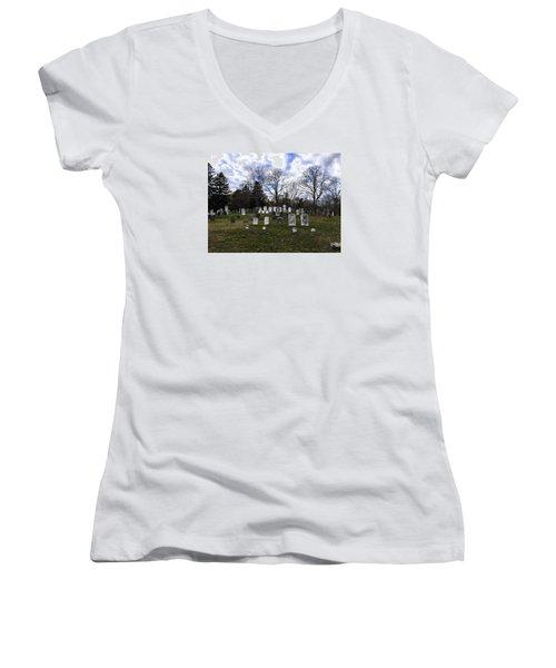 Old Town Cemetery Sandwich, Massachusetts Women's V-Neck T-Shirt