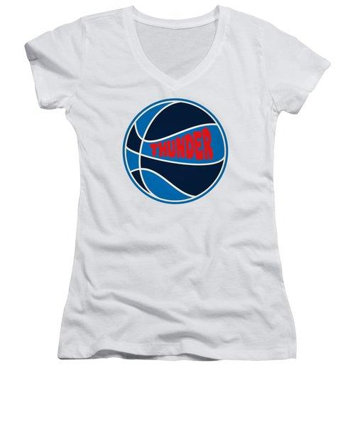 Oklahoma City Thunder Retro Shirt Women's V-Neck T-Shirt (Junior Cut) by Joe Hamilton