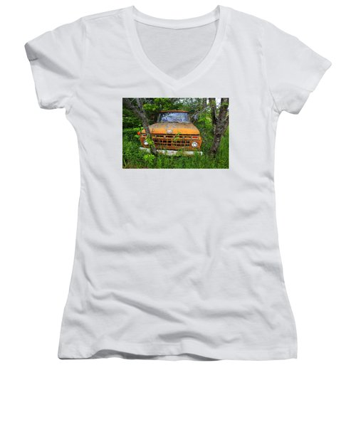 Old Abandoned Ford Truck In The Forest Women's V-Neck