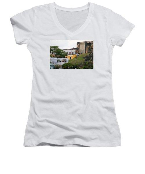 Women's V-Neck T-Shirt (Junior Cut) featuring the photograph Old And New by Lois Lepisto