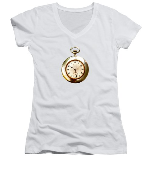 Women's V-Neck T-Shirt (Junior Cut) featuring the photograph Old And Used Pocket Clock Om White Background by Michal Boubin