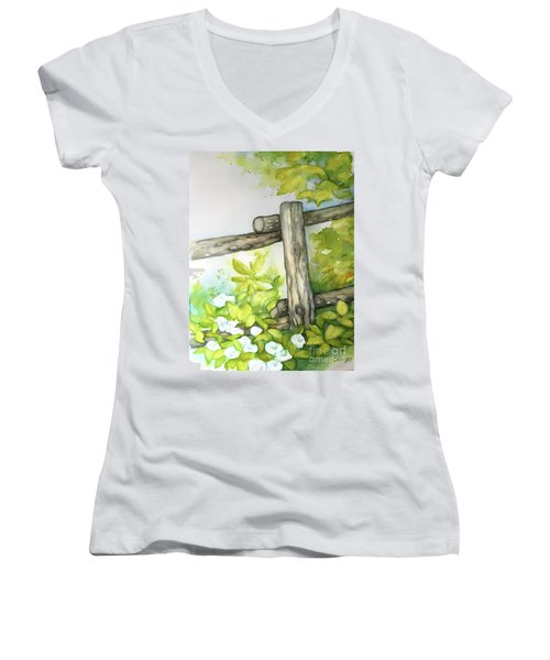 Old Backyard Fence Women's V-Neck