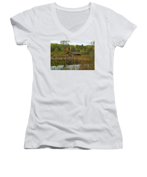 Old Bait Shop On Twin Lake_9626 Women's V-Neck T-Shirt (Junior Cut) by Michael Peychich