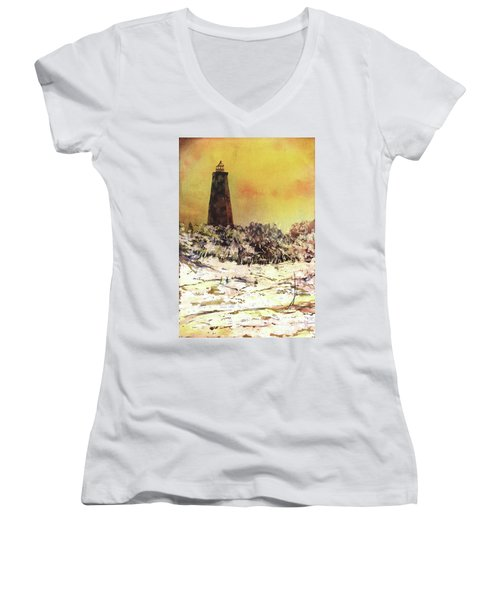 Women's V-Neck T-Shirt (Junior Cut) featuring the painting Old Baldy Lighthouse- North Carolina by Ryan Fox