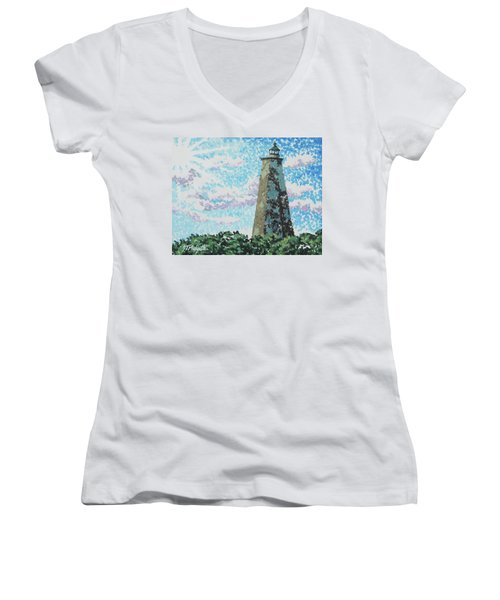 Old Baldy Lighthouse Women's V-Neck (Athletic Fit)