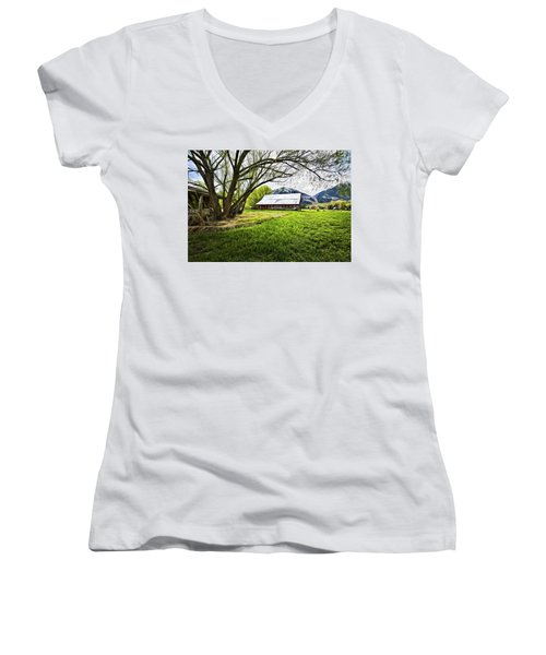 Women's V-Neck T-Shirt (Junior Cut) featuring the digital art Old Barn In Eden Utah by James Steele