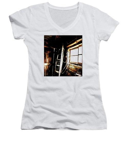 Old Barn Ladder Women's V-Neck T-Shirt (Junior Cut) by Deborah Nakano
