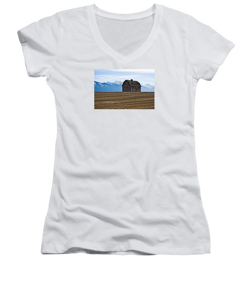 Old Barn, Mission Mountains 2 Women's V-Neck