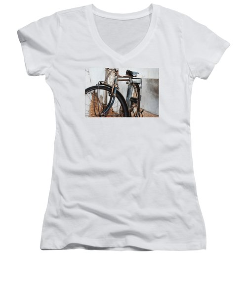Old Bike II Women's V-Neck T-Shirt (Junior Cut) by Robert Meanor