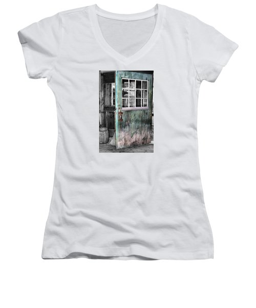 Rustic Blue - Green Door  Women's V-Neck T-Shirt (Junior Cut) by Betty  Pauwels