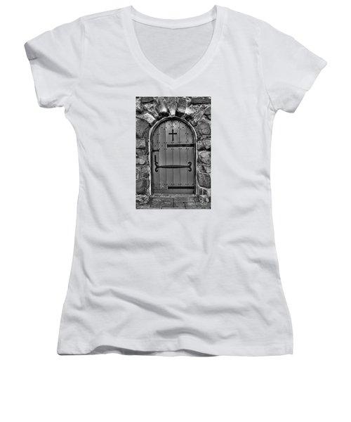 Women's V-Neck T-Shirt (Junior Cut) featuring the photograph Old Church Door by Alana Ranney