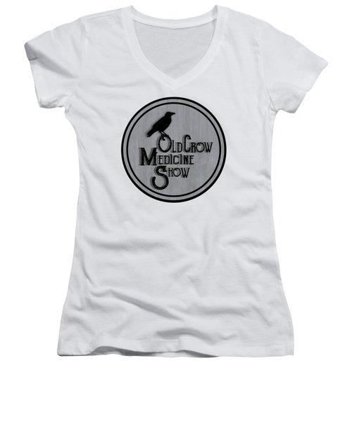 Old Crow Medicine Show Sign Women's V-Neck T-Shirt (Junior Cut) by Little Bunny Sunshine