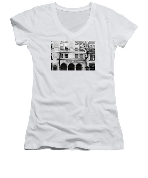 Old Ebbitt Grill Facade Black And White Women's V-Neck (Athletic Fit)